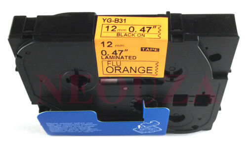 Fluo Orange Compatible for Brother TzB31 TZeB31 Laminated P-touch Labelling Tape