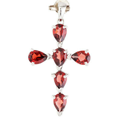 100/% NATURAL 7X5MM GARNET DEEP RED 3-STONE RARE STERLING SILVER 925 PENDANT
