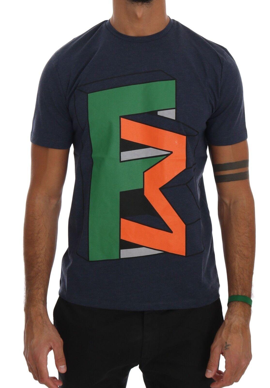 NEW 110 FRANKIE MORELLO T-shirt Blau Cotton Branded Short Sleeve  Herren Top s XXL