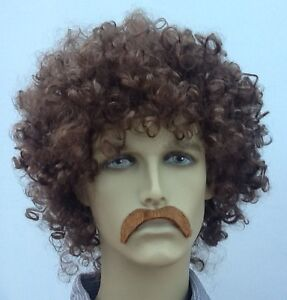 brown curly men's fancy dress wig  droop moustache short