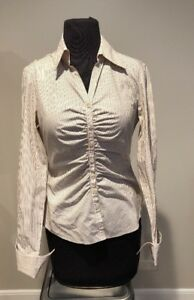 Lafayette-148-New-York-Womens-Striped-ruched-Button-Front-Blouse-Sz-2-Career