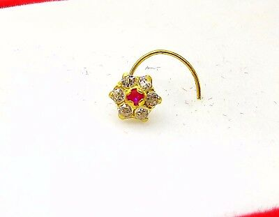 18k Gold Nose Pin Stud Ring Zirconia Stone Simple Jewel Best Price India Ebay