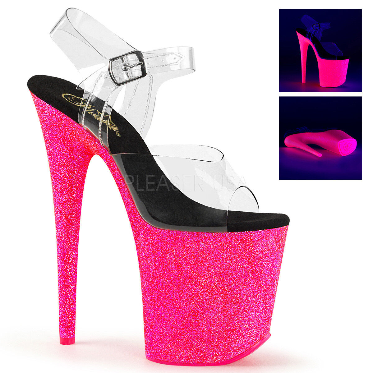 Pleaser FLAMINGO-808UVG Damenschuhe Neon Hot Pink Glitter Platform Stripper High Heel