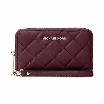Michael Kors Jet Set Travel Large Flat Multifunction Quilted Plum Phone Case