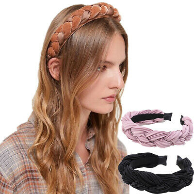 Women/'s Knot Tie Hairband Headband Silk Plait Wide Hair Band Hoop Accessories