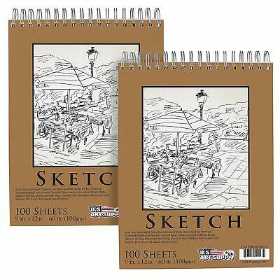 "Art Supply 11/"" x 14/"" Left Hand Spiral 60lb Sketch Pad Pack of 2 U.S"