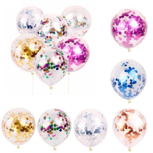 12 Confetti Latex Balloons Rose Gold Helium Birthday Wedding Hen Xmas Party UK