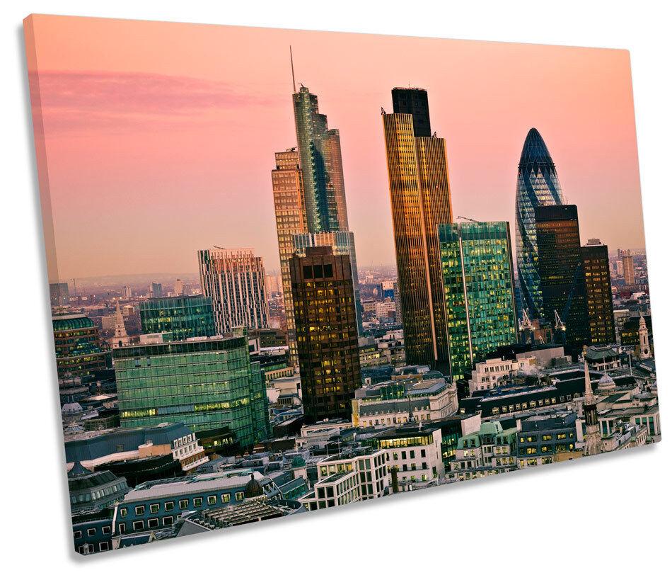 City di Londra TRAMONTO SUNSET TELA SINGOLA Wall Art incorniciato stampa