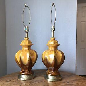 Vintage-Mid-Century-Modern-Ceramic-Golden-Drip-Glaze-Table-Lamps-Pair