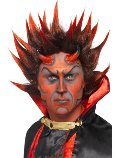Alto Rojo y Negro Pincho Peluca, Diablo Punky Peluca, Rojo y Negro. Halloween