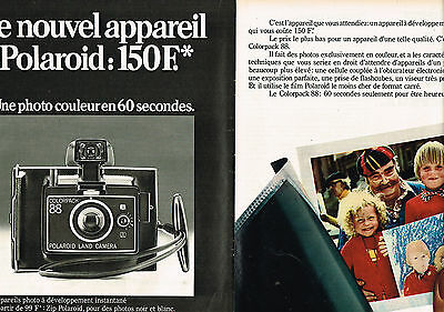 Candid Publicite Advertising 104 1974 Polaroid Appareil Photo Intantané Bright In Colour 2pages