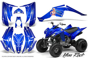 YAMAHA RAPTOR 350 GRAPHICS KIT CREATORX DECALS STICKERS SAMURAI BLUE GREEN