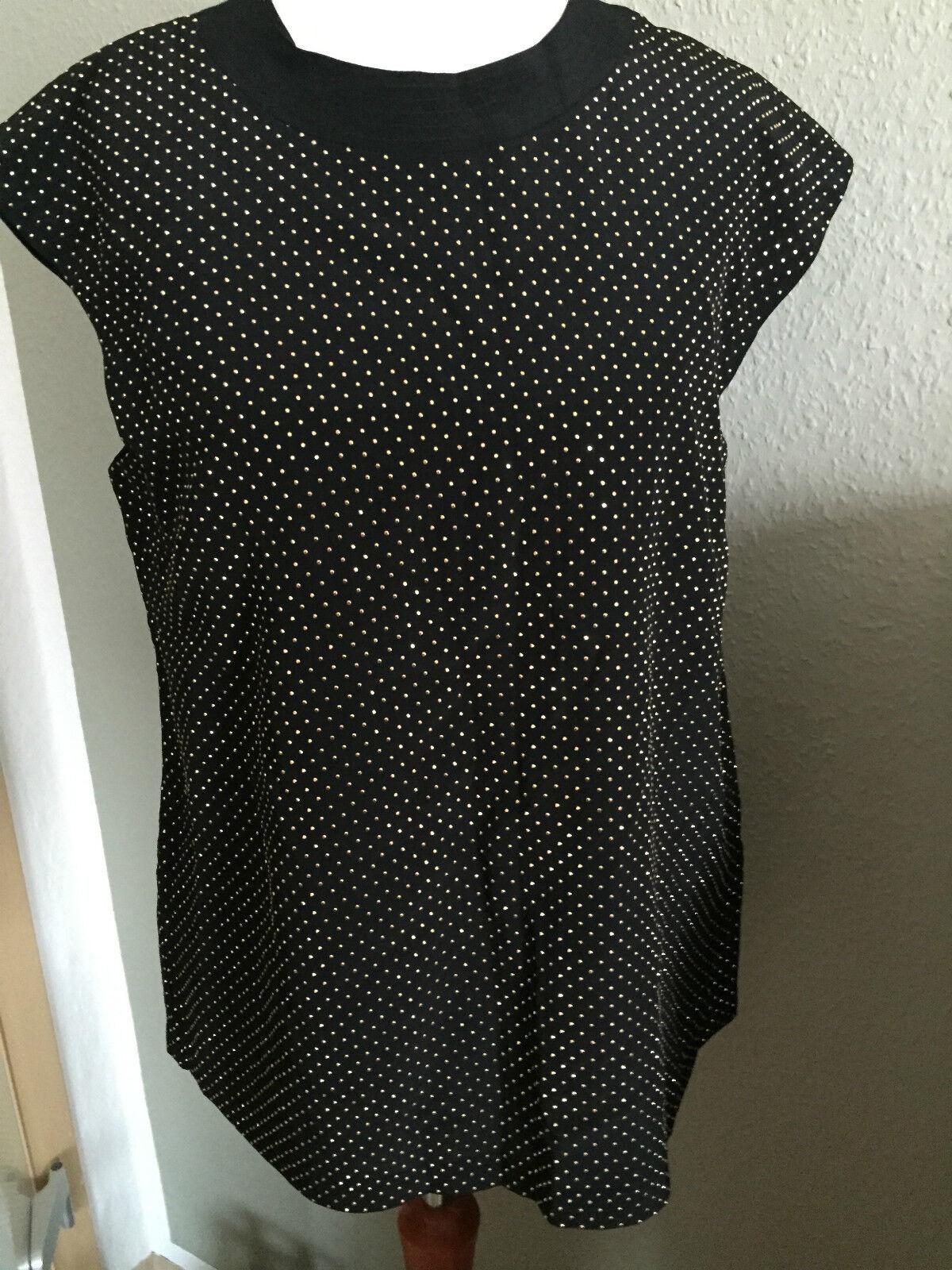 Versace f. H&M T-Shirt Shirt TOP Schwarz Nieten Gold Seide silk Gr. 34 US 4