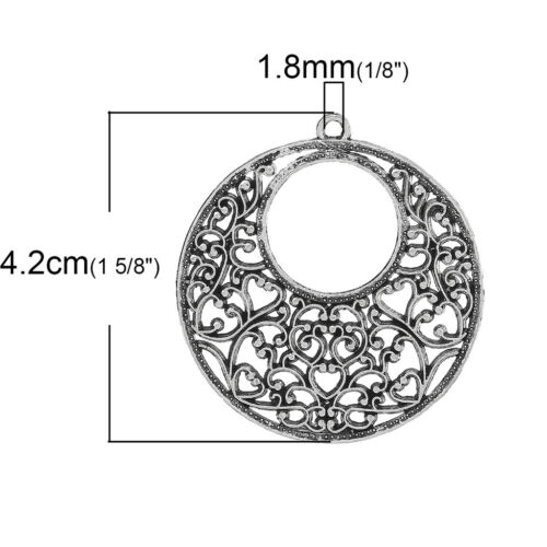 6 PCs Charm Pendants Round Antique Silver Hollow Flower 4.2cmx3.9cm LC4808