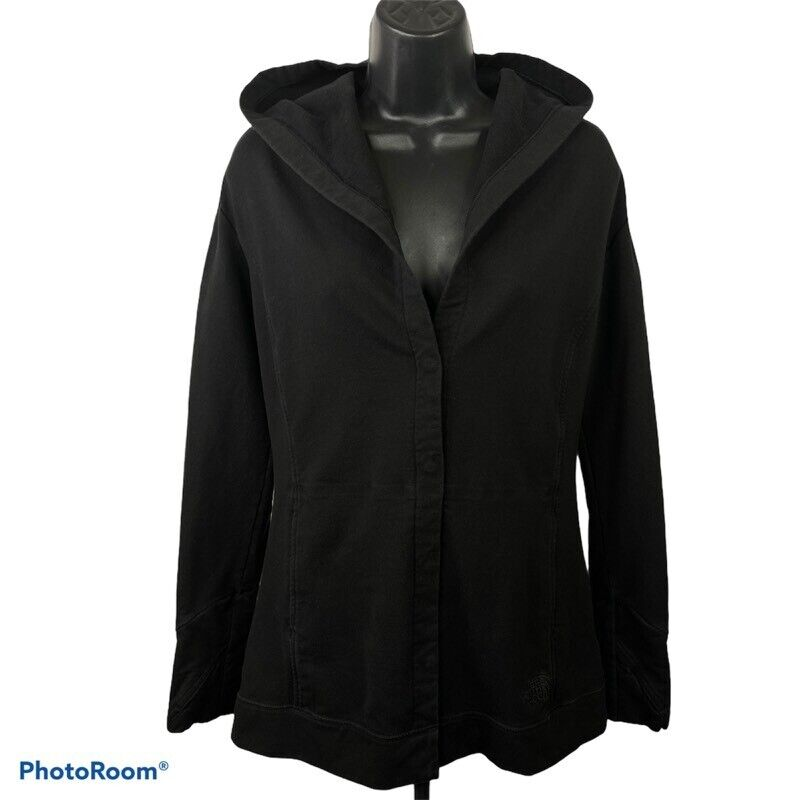 The North Face Womens Hoodie Black Snap Button Long Sleeve Stretch Pocket M