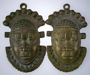 VINTAGE-AFRICAN-BRONZE-FACE-MASK-SCULPTURE-PAIR-SET