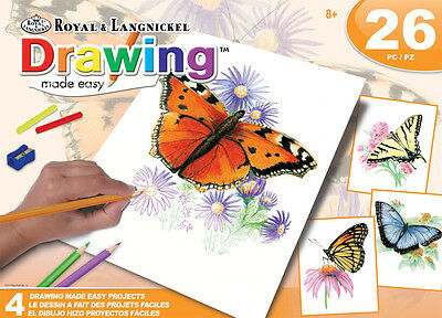 26 pc Poster Coloring Kit BUTTERFLIES 4 Designs Pencils and Color Sticks