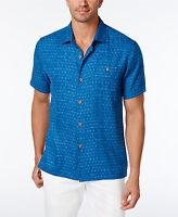 Tommy Bahama Men's Diamond Lines 100% Silk Shirt XL Bering Blue MSRP $118