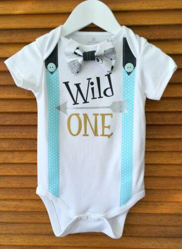 Wild One Tribal Theme 1st Birthday Boy Bow Tie Bodysuit with Party Hat.