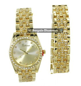 mens gold tone cz ice out clubbing watch bracelet set techno image is loading mens gold tone cz ice out clubbing watch