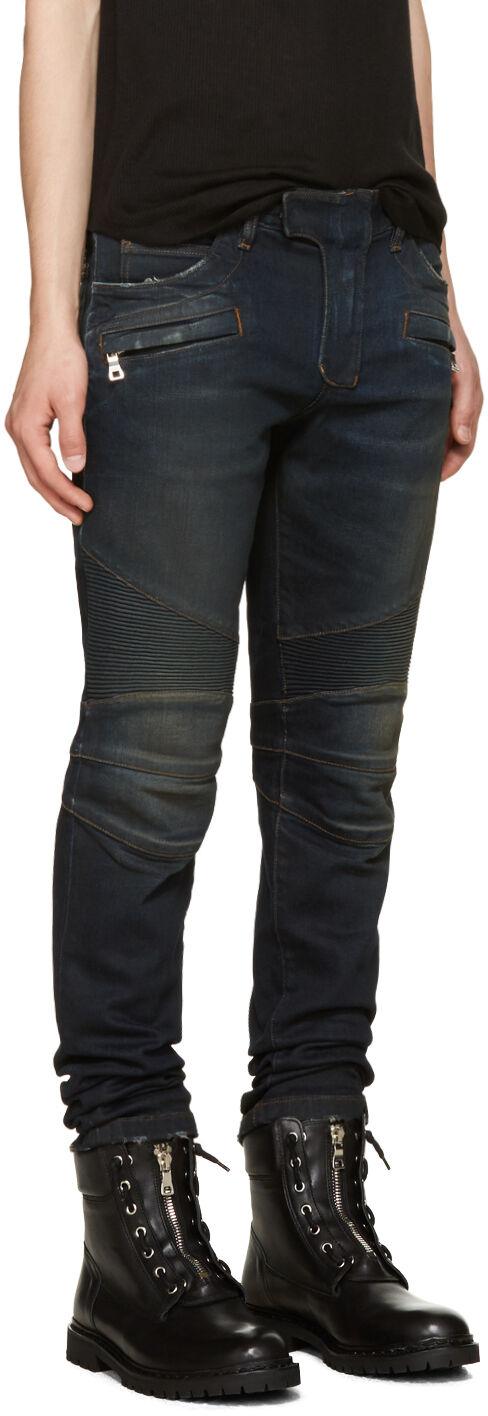 BALMAIN 1400  Authentic New Stretch Cotton Indigo bluee Biker Denim Jeans sz 33