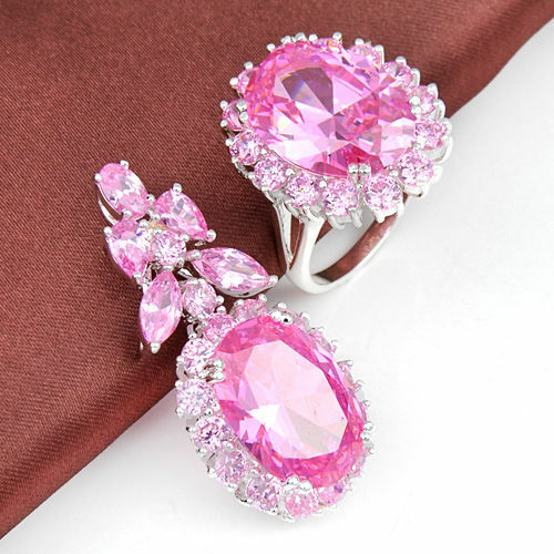Best Mother's Day Gift Genuine Pink Topaz Gemstone Silver Pendant Ring Set