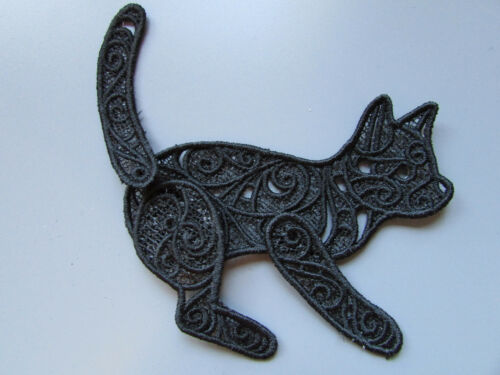 Embroidered Lace Cat Applique with moving tail and legs