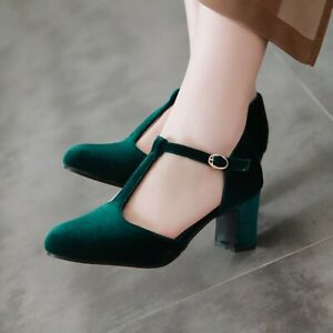 Uk Ladies Block Heels Velour Ankle Strap T Bar Buckle Retro Casual Shoes Size Ebay