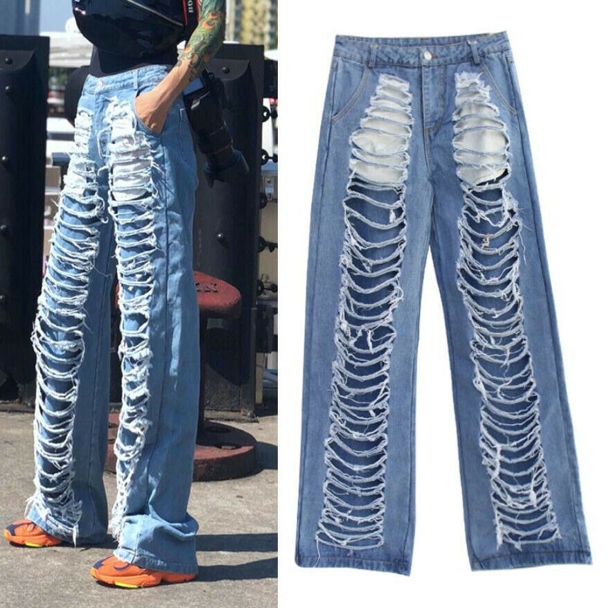 New Womens Girls Ripped Distressed Loose wide flared Jeans Denim Pants boyfriend