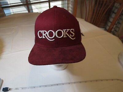 Crooks & Castles Maroon hat cap red burgundy adjustable surf skate NEW NWT RARE