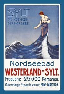 Westerland-Sylt-reina-del-mar-del-norte-chapa-escudo-Escudo-metal-Tin-sign-20-x-30-cm