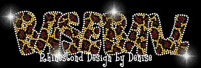 Baseball Rhinestone Transfer in Leopard Print Applique Iron On Mom Bling