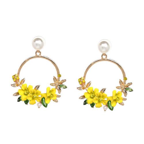 Fashion Crystal Perles Fleur Goutte Boucle d/'Oreille pour Femmes Mariage Fête Bijoux Cadeaux