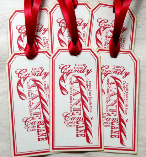 Hang Tags  VINTAGE STYLE CANDY CANE WORD ART CHRISTMAS TAGS #559  Gift Tags