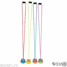 12 Birthday Everyday Party Favors OWL YOU'RE A HOOT Fun Rubber NECKLACES