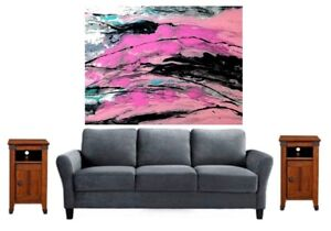 Original-Abstract-Painting-on-Canvas-16-x-20-Acrylic-Paint-Pouring-Pink-Wall-Art