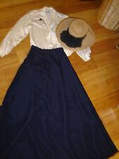 School Marm 2 pc dress ivory blouse black skirt straw hat M Prairie costume