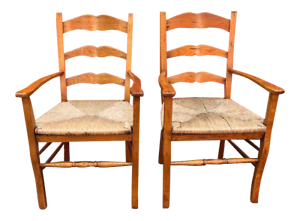 Pair-of-Ladder-Back-Arm-Chairs-Rush-Seats-in-Oak