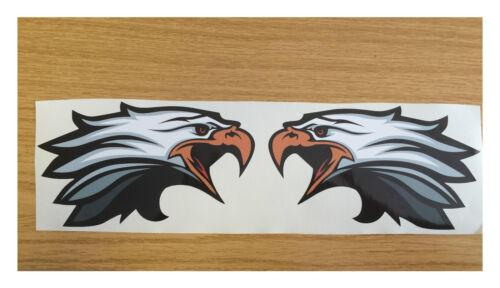 2 X Qté Eagle têtes paire Imprimé Autocollant-Choix de Tailles