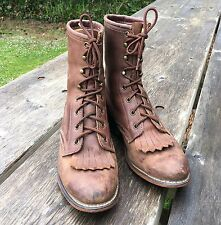 VTG Laredo Roper Leather Lace Up Boots Womans 8 M Kiltie Brown Cowboy Work Ankle