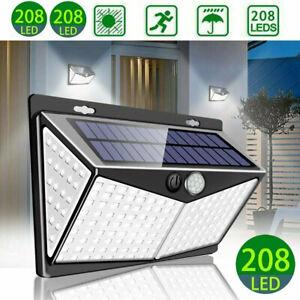 208-LED-Energia-Solare-Luce-Sensore-Pir-Lampada-Da-Esterni-Giardino-Impermeabile-Muro