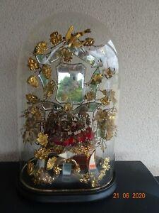 ancien-grand-globe-cloche-verre-garniture-couronne-de-mariee-bridal-glass-bell