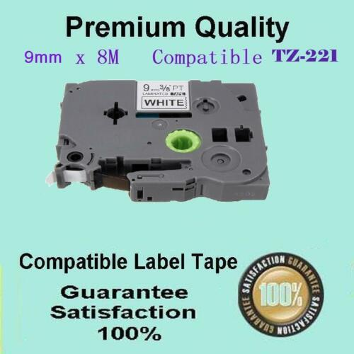 1x Laminated labelling tape for Brother TZ-221 TZe-221 Black on White 9mm x 8m