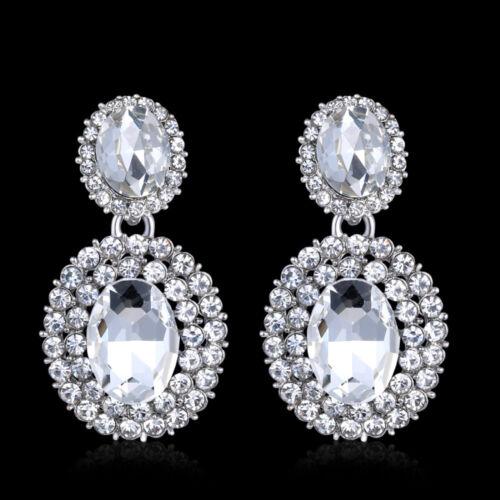 Kristall Tropfen-Ohrringe Strass Braut Strass Silber Lang Hochzeit Abschlussball