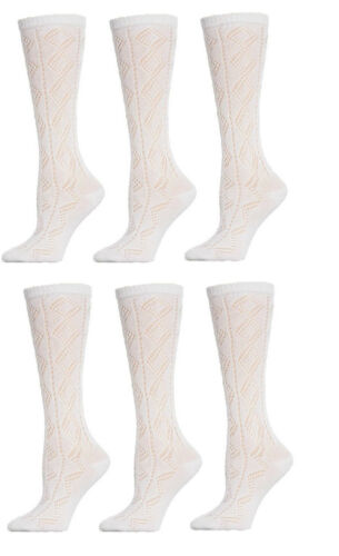 Filles Blanc Pellerine Chaussettes Uniforme Scolaire à motifs 3//4 hautes