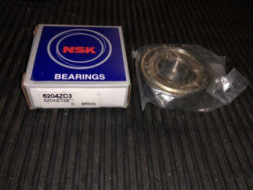 NSK 6204ZC3 Single Row Deep Groove Bearing 47mm-OD 20mm-ID 14mm-Wide 6204 2Z C3
