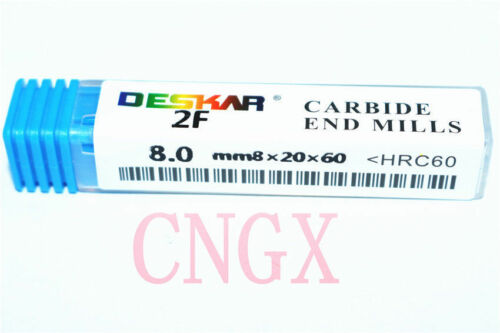1PC DESKAR 2Flute 8.0mmx8×20×60 /<HRC60° ALL Solid Carbide End Mills Cutter