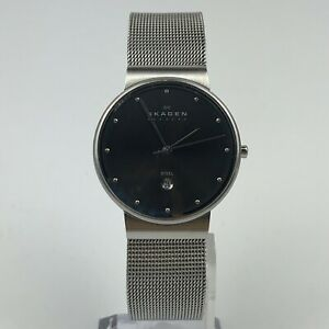 SKAGEN-Denamark-Mesh-Stainless-Steel-Mens-Silver-Watch-Case-34mm-355LSSM
