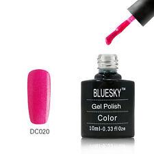 DC020 Bluesky Soak Off UV LED Gel Nail Polish Neon Magenta Silver Bling
