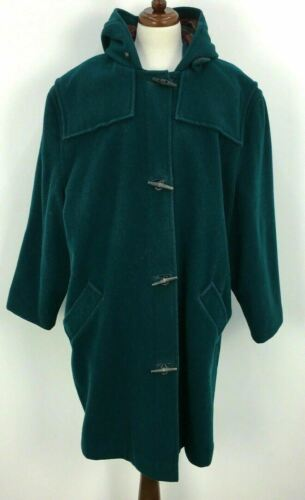 VTG 80s 90s LL Bean Teal Flannel Toggle Hooded Duf